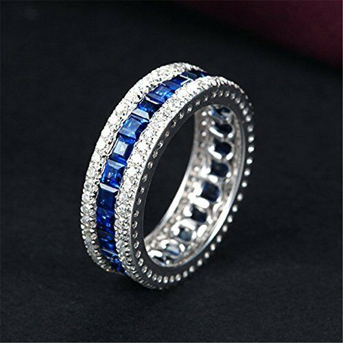 junxin jewelry 7 3mm women mens white gold thin blue line. Black Bedroom Furniture Sets. Home Design Ideas