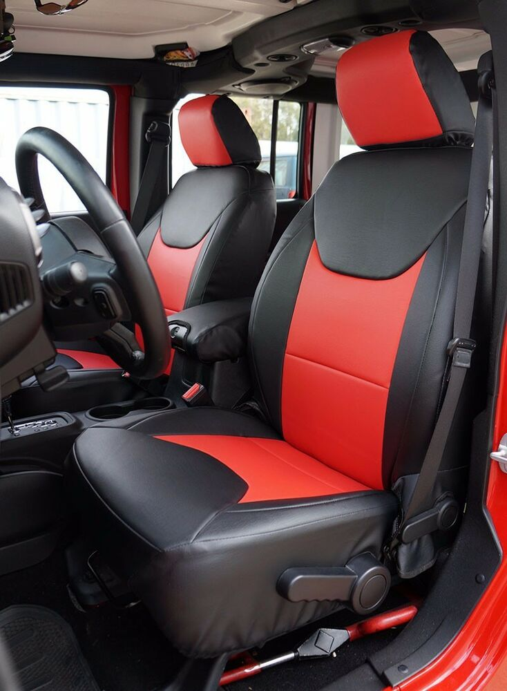 Jeep Wrangler Seat Covers >> JEEP WRANGLER 2013-2016 BLACK/RED LEATHER-LIKE CUSTOM MADE FIT FRONT SEAT COVER   eBay