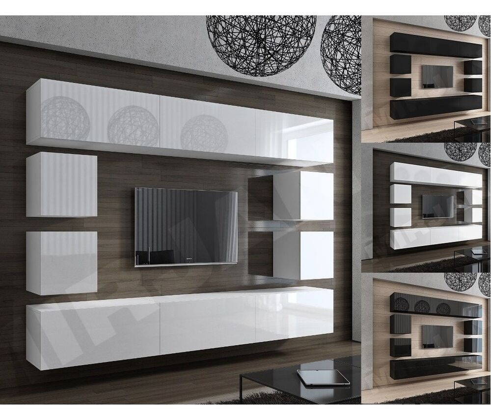 wohnwand schrankwand concept 17 design tv wand hochglanz modern wei schwarz ebay. Black Bedroom Furniture Sets. Home Design Ideas