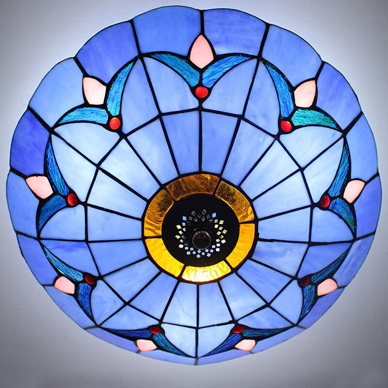 tiffany style stained glass ceiling lighting fixture flush. Black Bedroom Furniture Sets. Home Design Ideas