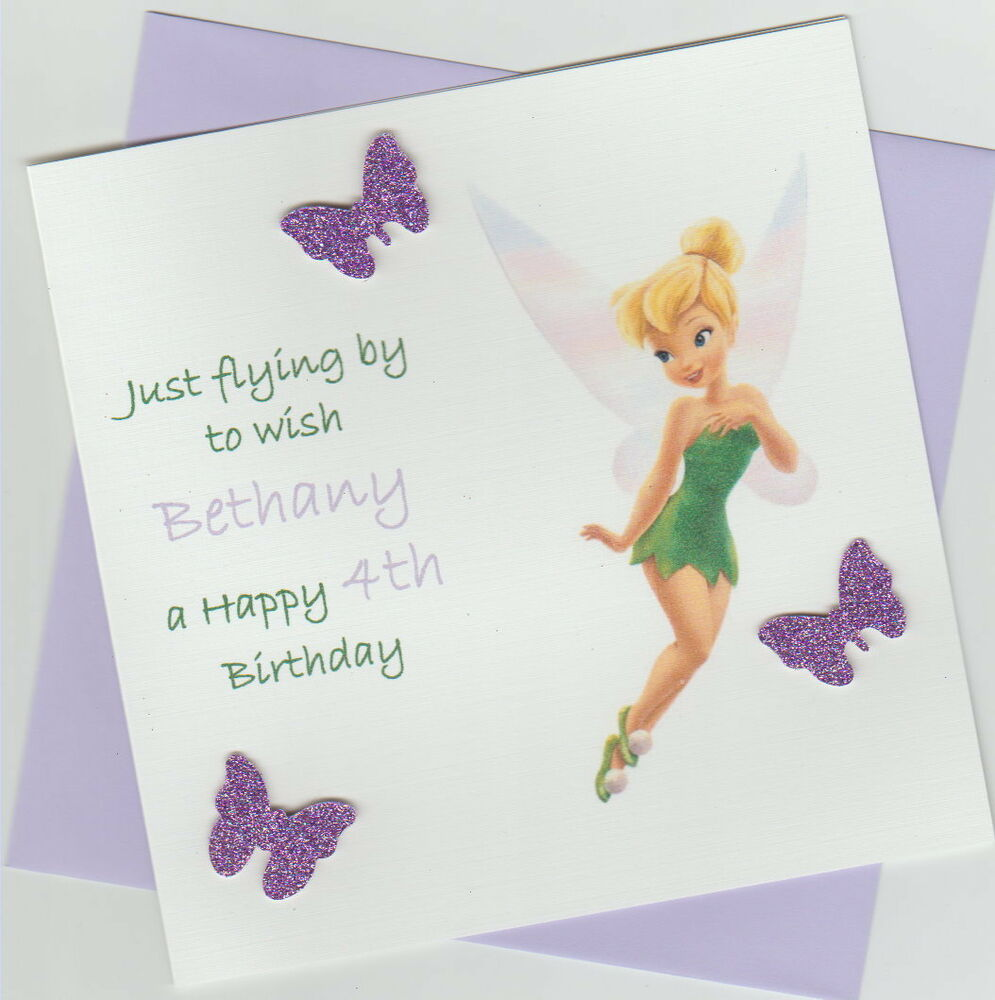 Personalised Handmade Disney Tinkerbell Birthday Card 2