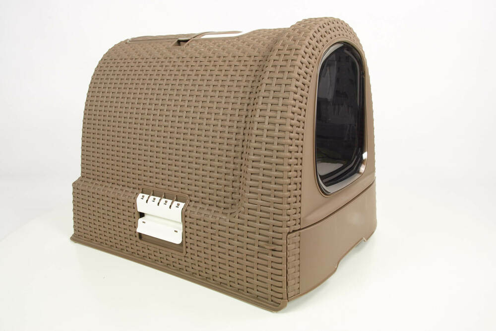 Curver style cat litter box mocca cattoilet hooded litter for Stylish cat litter box