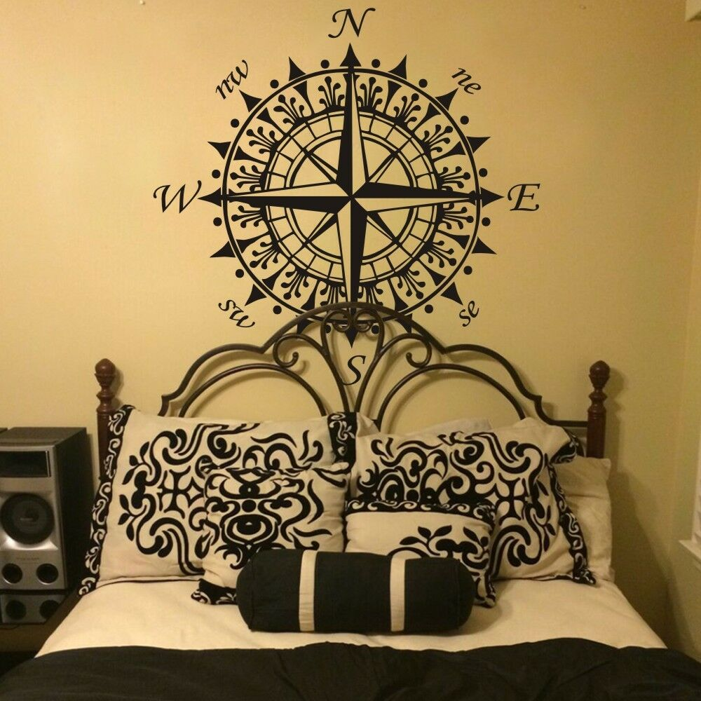 compass rose nautical wall decal inspiration vinyl baby room removable art decor ebay. Black Bedroom Furniture Sets. Home Design Ideas