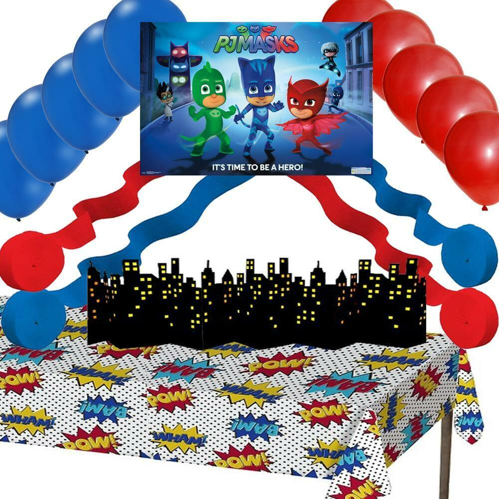 Mask Decorating Ideas: PJ Masks Party Decorations: Poster Balloons Streamers