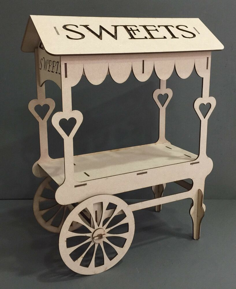 Y74 SWEET CANDY CART Wedding Party Birthday Unpainted MDF