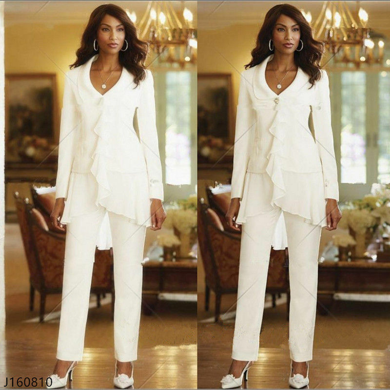 2017 Ivory White Pants Mother Of The Bride Outfits Chiffon