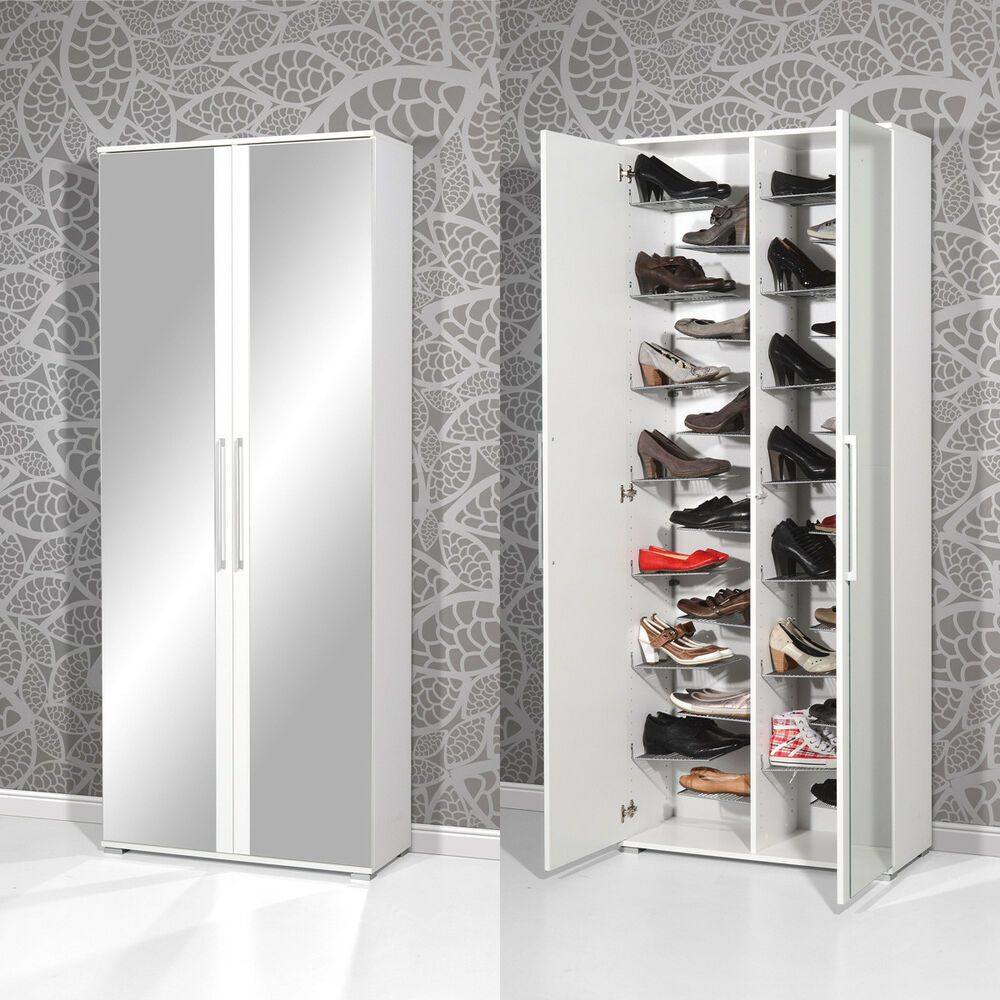 schuhschrank 3107 garderobe garderobenschrank in wei mit spiegel von germania ebay. Black Bedroom Furniture Sets. Home Design Ideas