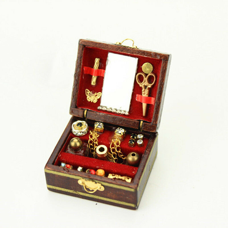 1:12 Scale Dollhouse Miniature Filled Wooden Jewelry Box