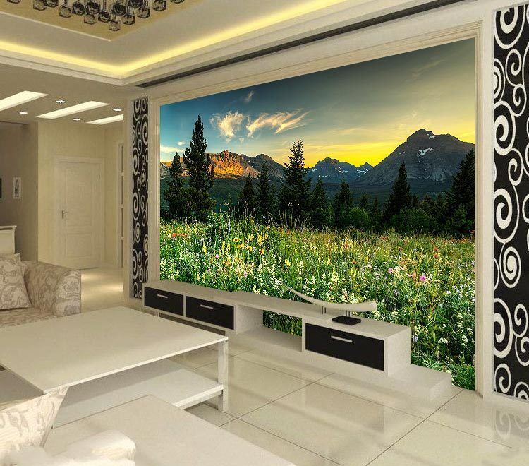 wild landscape mountains full wall mural photo wallpaper. Black Bedroom Furniture Sets. Home Design Ideas