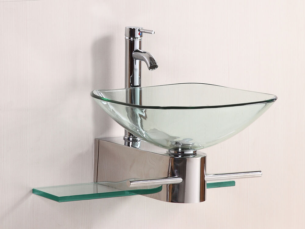Bathroom Vanity Furniture Clear Tempered Glass Bowl Vessel Sink W Faucet Ebay