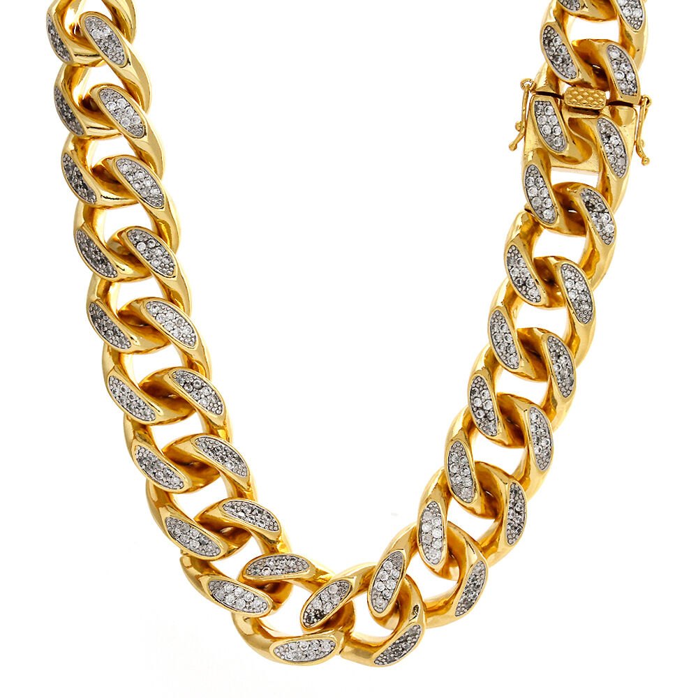 Mens Iced Out 14K Yellow Gold Finish Rapper's Miami Cuban ...