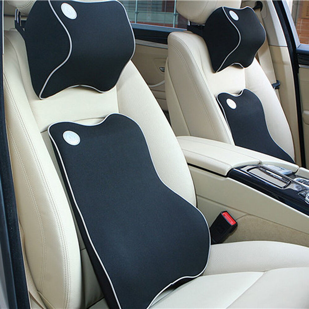car back cushion neck pillow kit premium memory foam lumbar cushion seat cover ebay. Black Bedroom Furniture Sets. Home Design Ideas