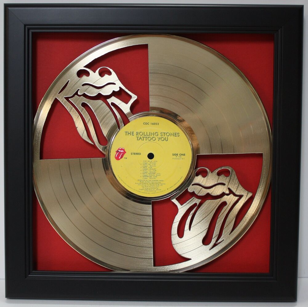 Rolling Stones Framed Laser Cut Gold Plated Vinyl Record