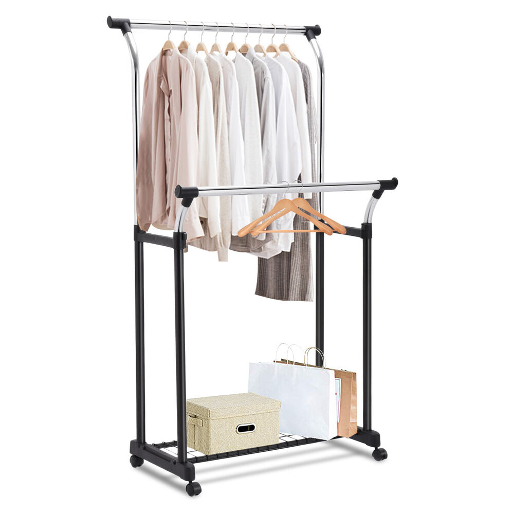 double rail adjustable garment rack rolling clothes hanger w shoe rack portable ebay. Black Bedroom Furniture Sets. Home Design Ideas