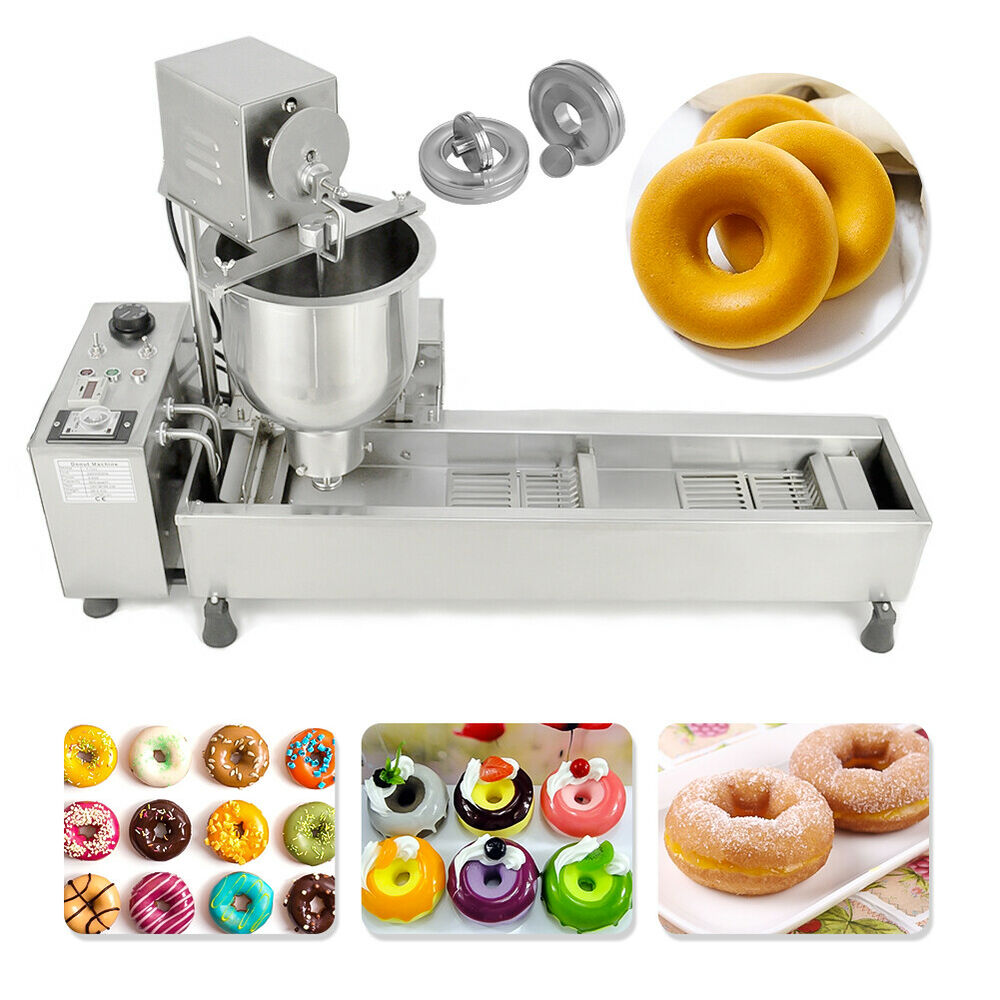 Automatic Doughnut Factory: WIDE OIL TANK, 3 SETS FREE MOLD COMMERCIAL AUTOMATIC DONUT