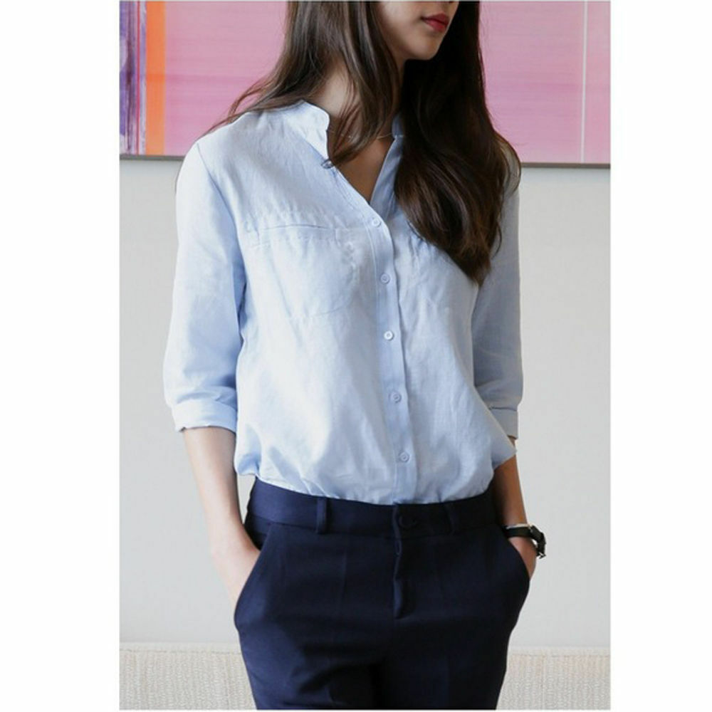 Women lady half sleeve linen cotton shirt top casual for Women s button down shirts extra long