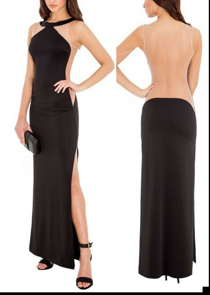 Ultimate Sexy Long Black Dress-Split Sides-Nude Fabric Back - sizes 12 ...: www.ebay.com.au/itm/Ultimate-Sexy-Long-Black-Dress-Split-Sides-Nude...