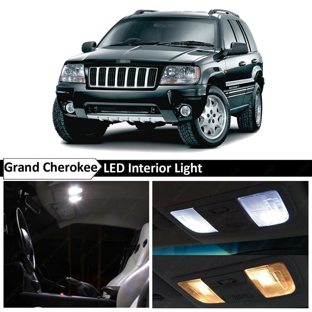 18x white interior led lights package kit fits 1999 2004 jeep grand cherokee wj ebay. Black Bedroom Furniture Sets. Home Design Ideas