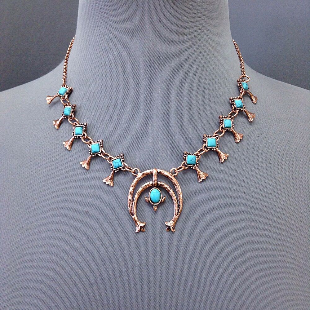 Boho Antique Rose Gold Hammered Turquoise Stone Squash ...