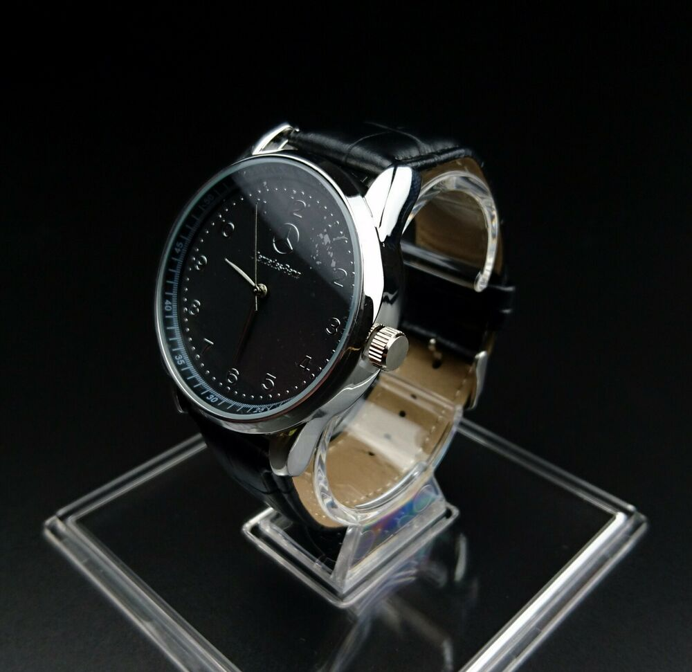 Mercedes benz mens watch stainless steel black leather for Mercedes benz watches ebay