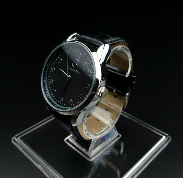Mercedes Benz Mens Watch Stainless Steel Black Leather Strap / Black Face - UK