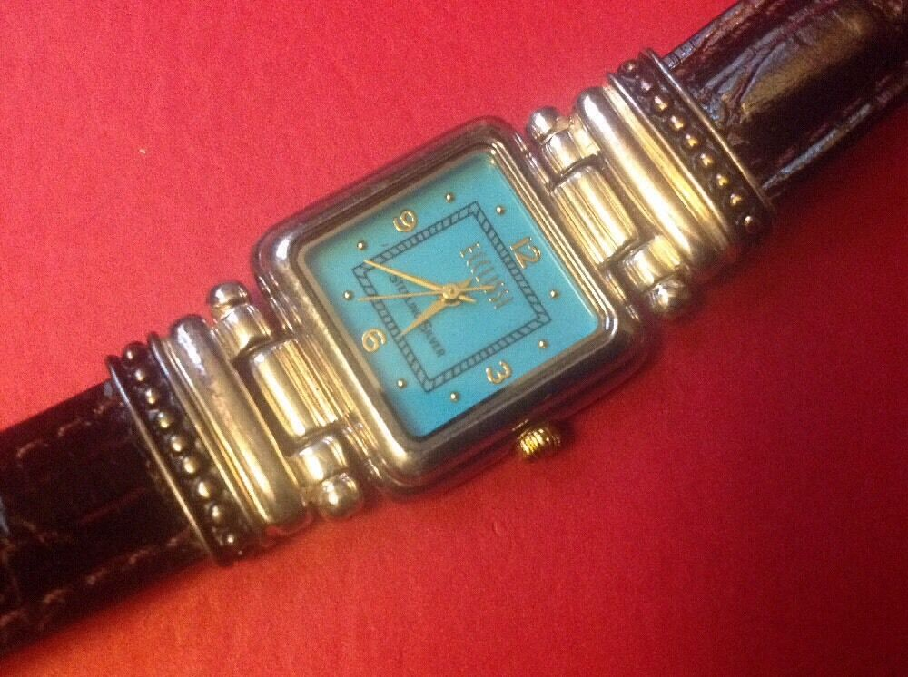 Ecclissi Sterling Silver Gold Accents Amp Turquoise Dial
