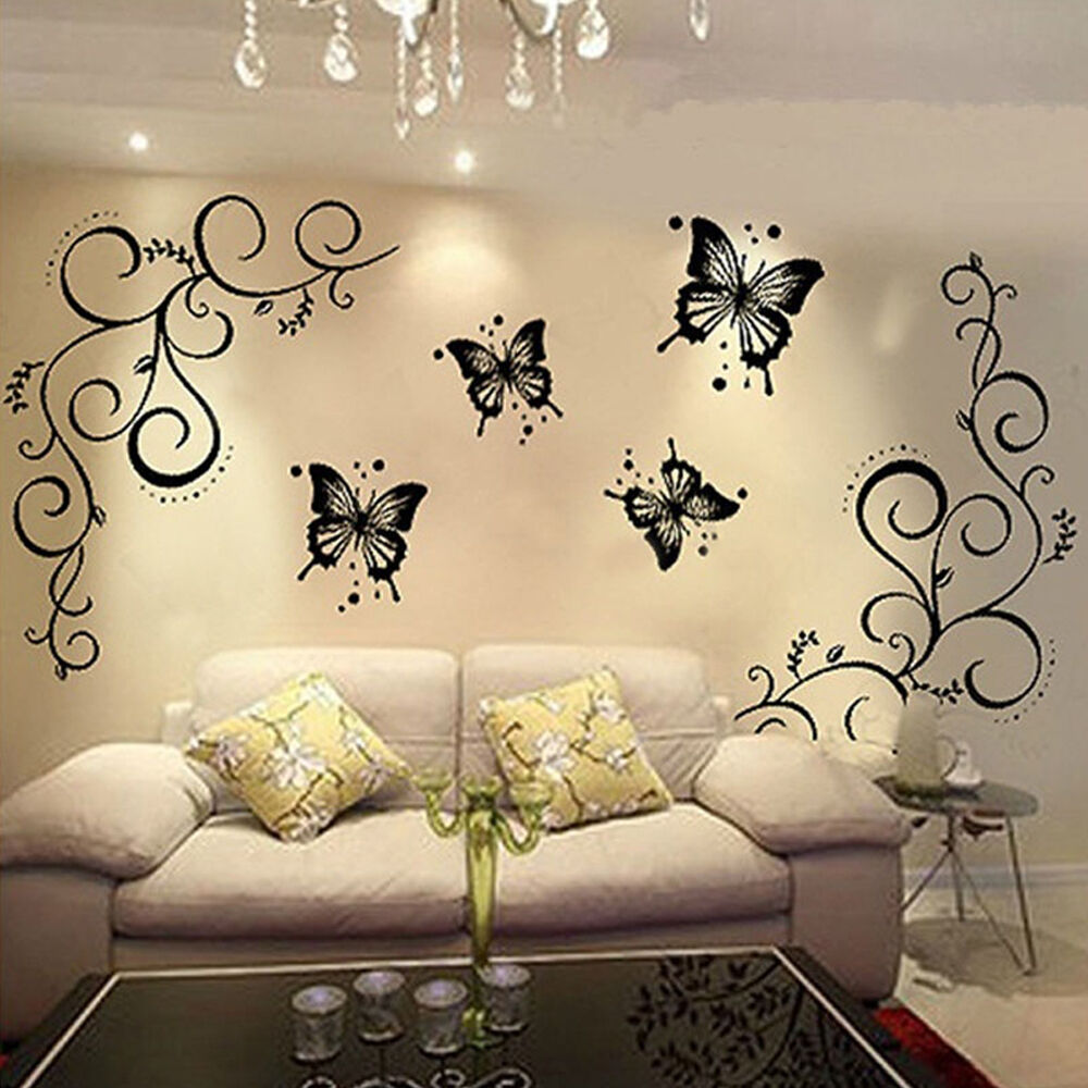 Home Art Decor Wall Decals ~ Butterfly vine diy removable vinyl decal art mural wall