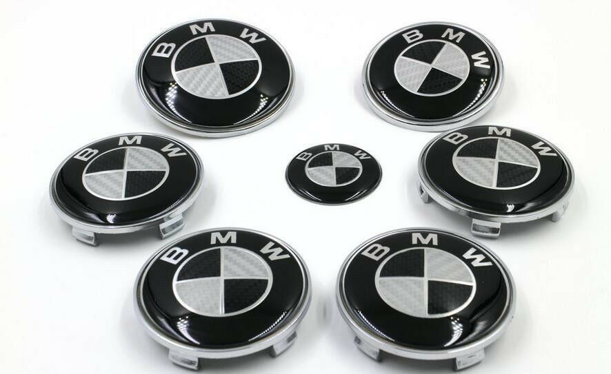 7pcs bmw black silver bmw carbon fiber style emblem logo badge set ebay. Black Bedroom Furniture Sets. Home Design Ideas