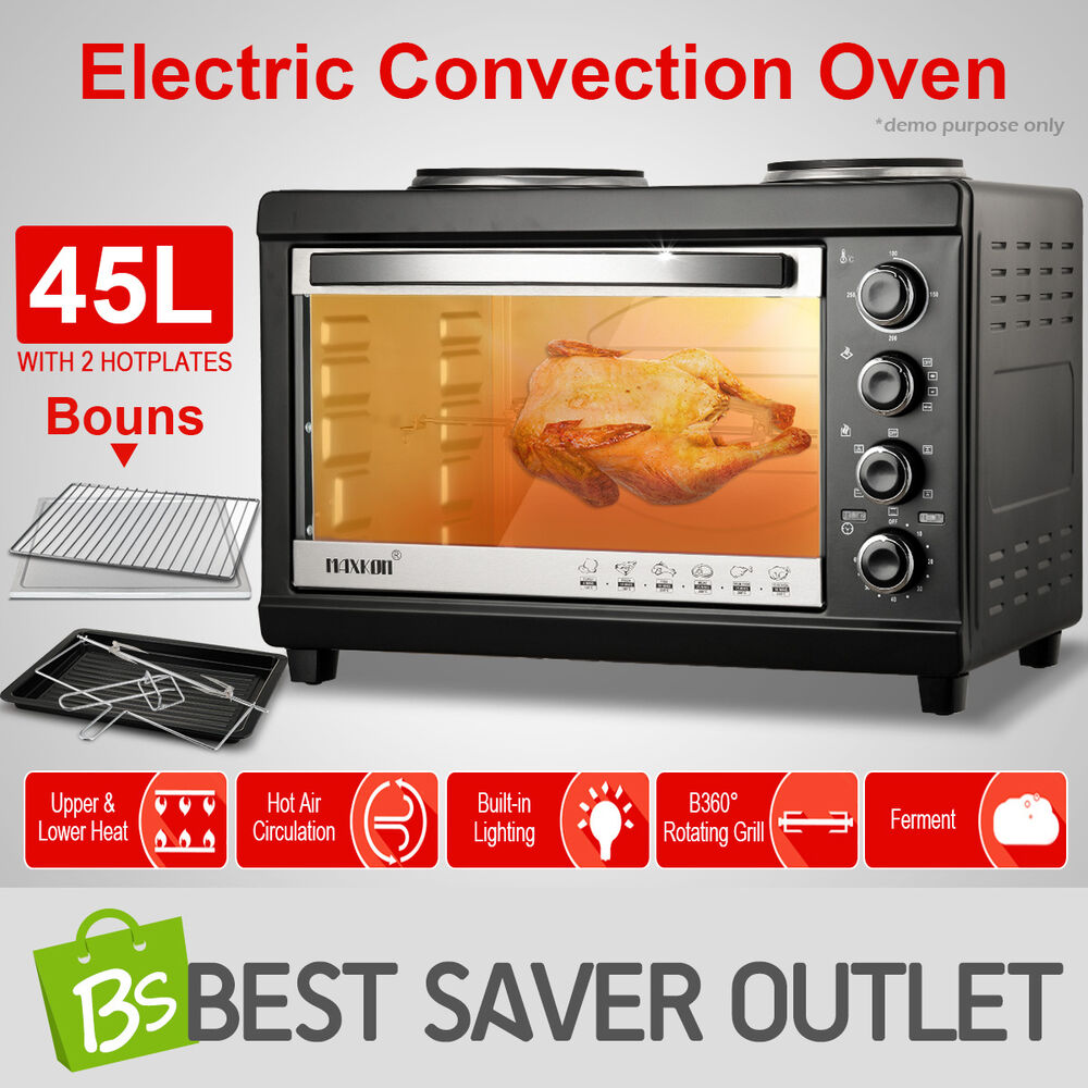 45L Portable Electric Convection Oven Benchtop Toaster Grill with ...