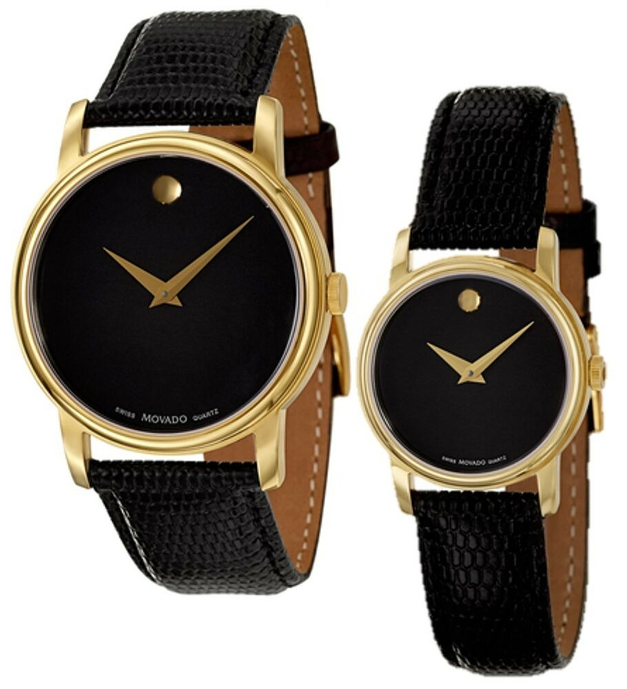 movado museum black gold black leather mens 2100005