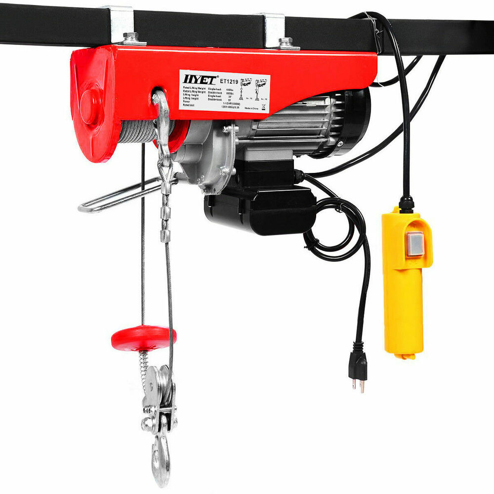 880lbs Mini Electric Wire Hoist Remote Control Garage Auto