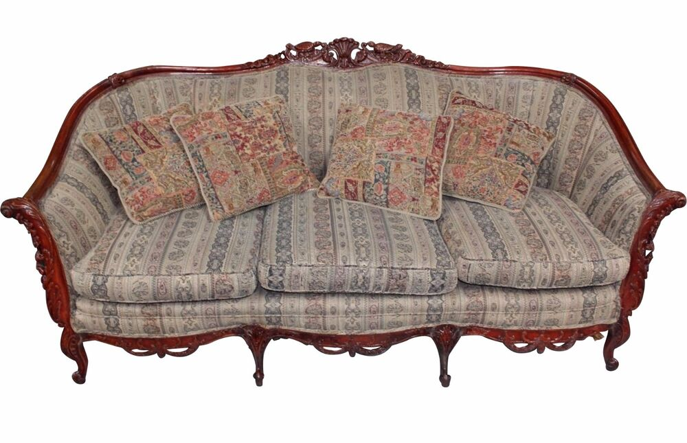 antique naturalistic rococo revival style rosewood sofa with four pillows ebay. Black Bedroom Furniture Sets. Home Design Ideas