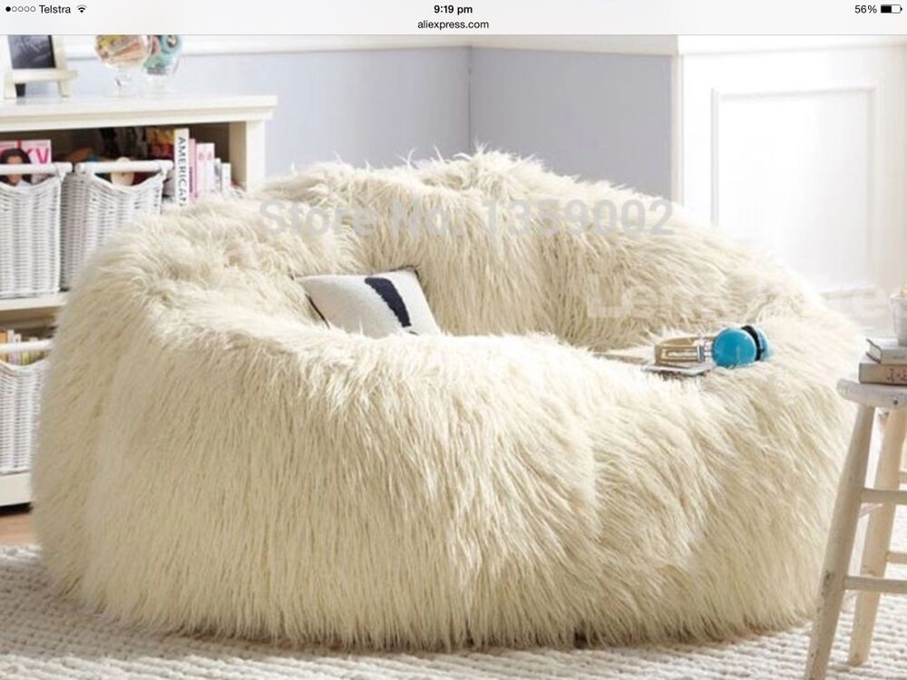 Large White Faux Fur Beanbag Cover Gaming Chair Parents