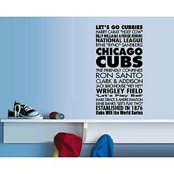 Chicago Cubs Subway Art - Wall or Widow Decal, Room Sticker