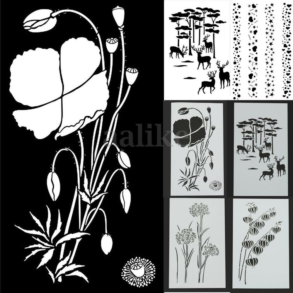 16 Best Diy Stencils Images On Pinterest: Flower Airbrush Template Painting Layering Stencils