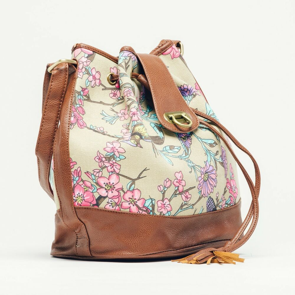 Ladies Canvas Floral Print Drawstring Shoulder Bag /Handbag | EBay