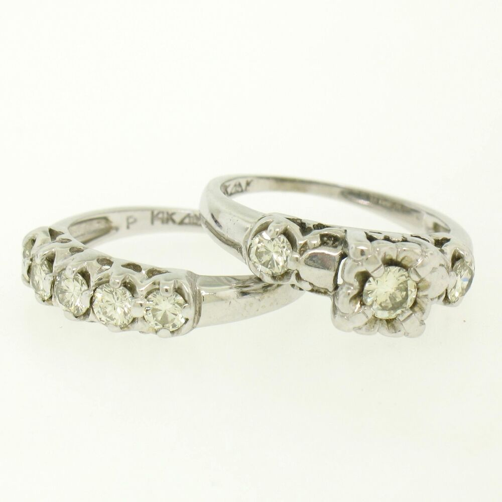 Vintage 14k white gold 91ctw brilliant diamond engagement for Wedding ring sets white gold