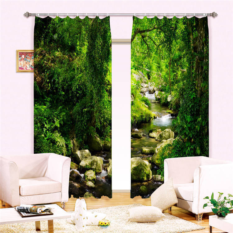 Creek stone forest 3d curtain blockout photo curtains for Forest green curtains drapes