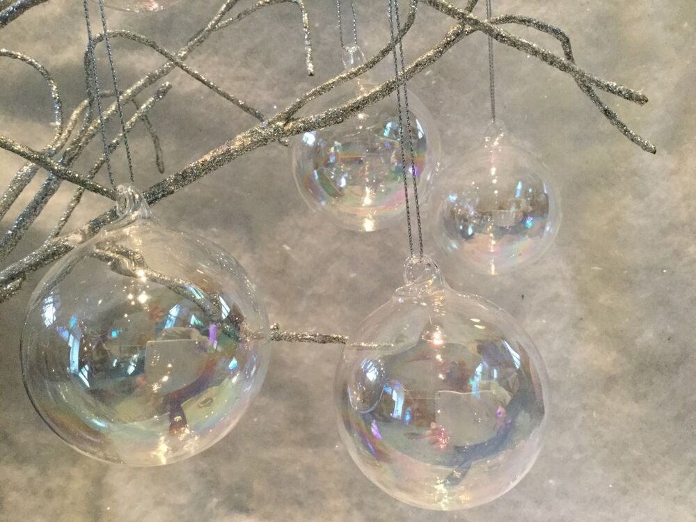 6 X Glass Iridescent Soap Bubble Baubles Christmas Tree