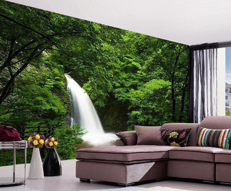 Deep forest waterfall nature full wall mural photo for Wallpaper home murals