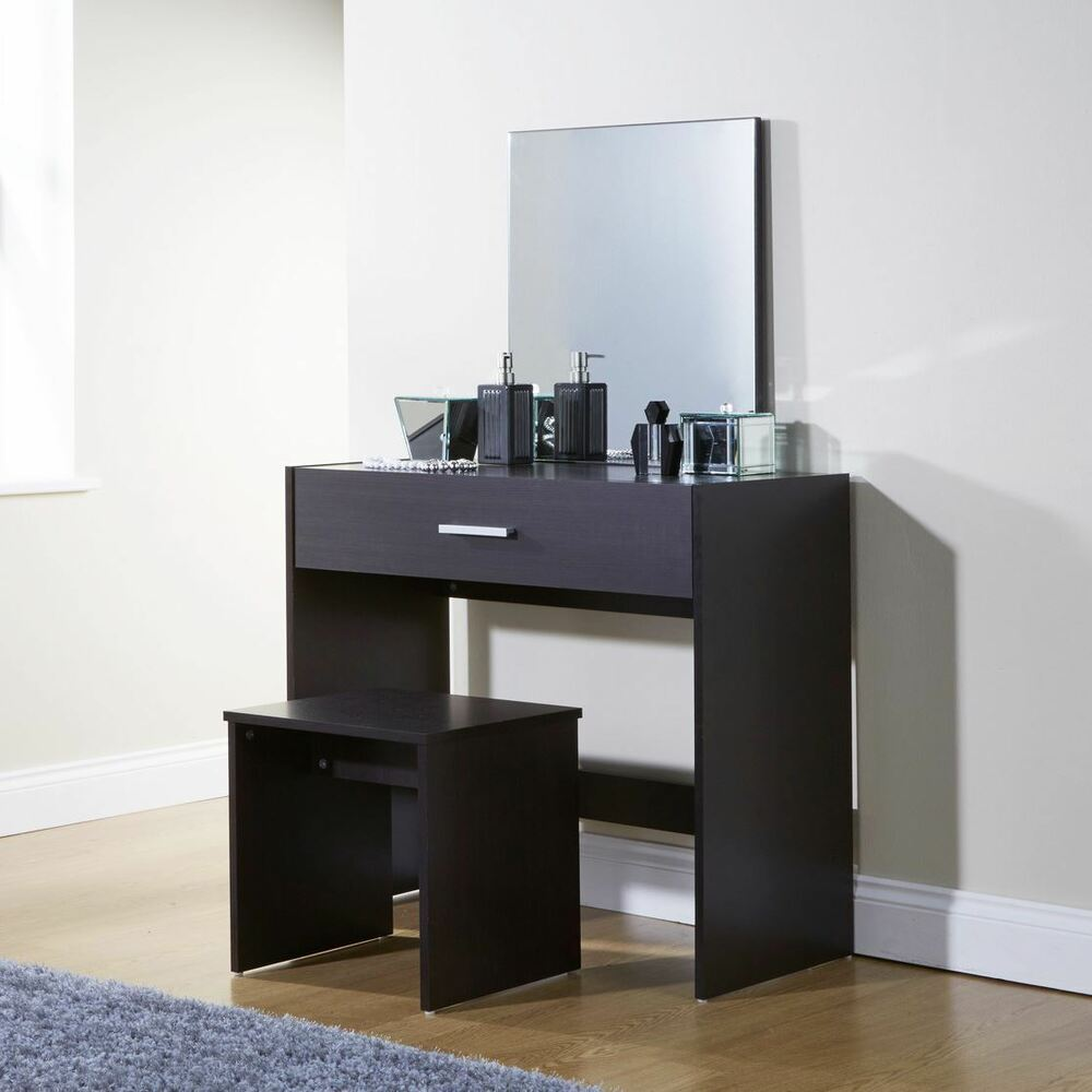 simple julia espresso dressing table set vanity desk stool. Black Bedroom Furniture Sets. Home Design Ideas