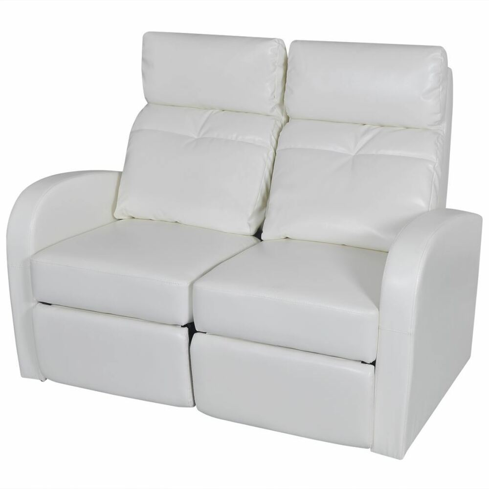 Home Theater 2 Seat Recliner White Artificial Leather