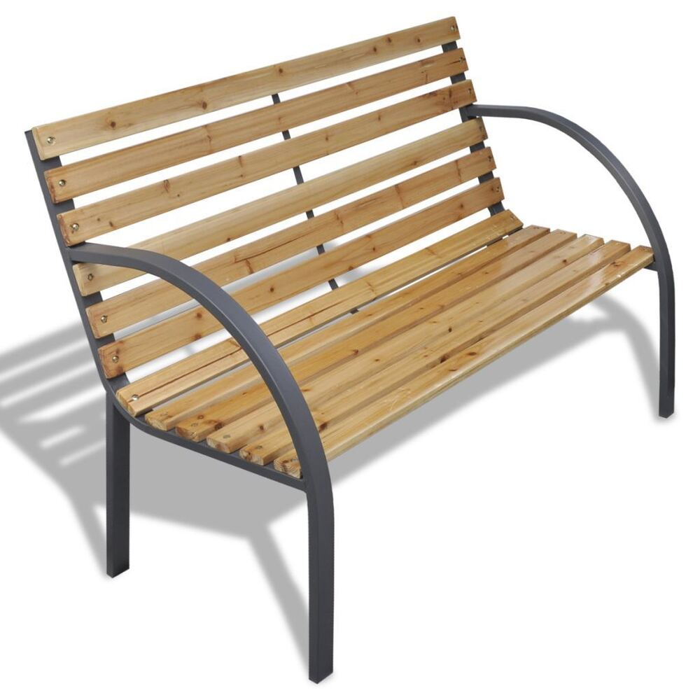 Patio Outdoor Garden Bench Wooden Iron Metal Curved Back Armrests Yard Furniture Ebay