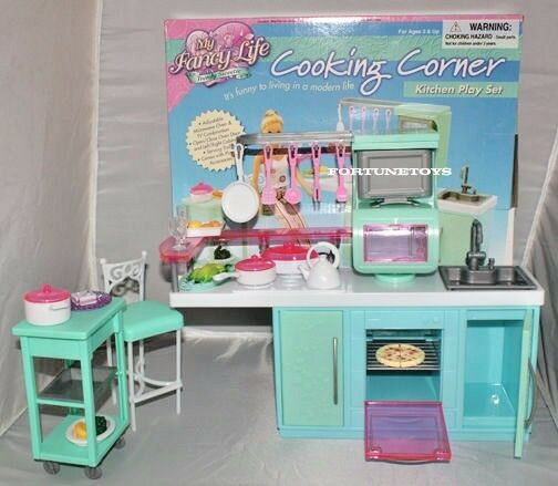 Fancy life doll house furniture size cooking corner for Life size kitchen set