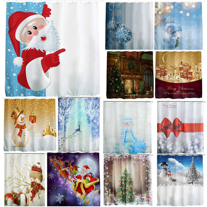 Hot Christmas Waterproof Polyester Bathroom Shower Curtain Decor With Hooks Ebay