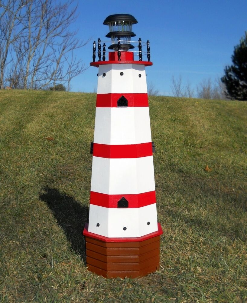 36 solar lighthouse wood decorative lawn and garden for Decorative lawn ornaments