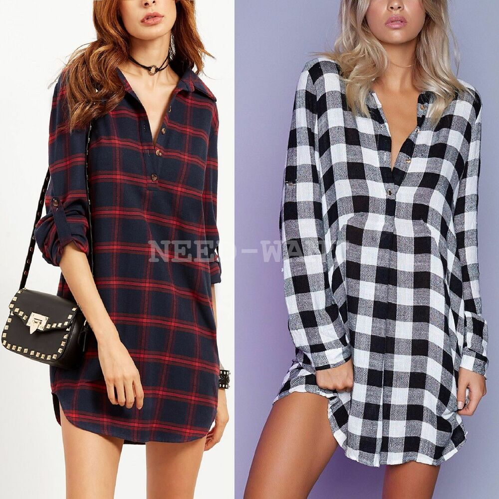 Uk womens check shirt blouse ladies long sleeve plaid for Best check designs