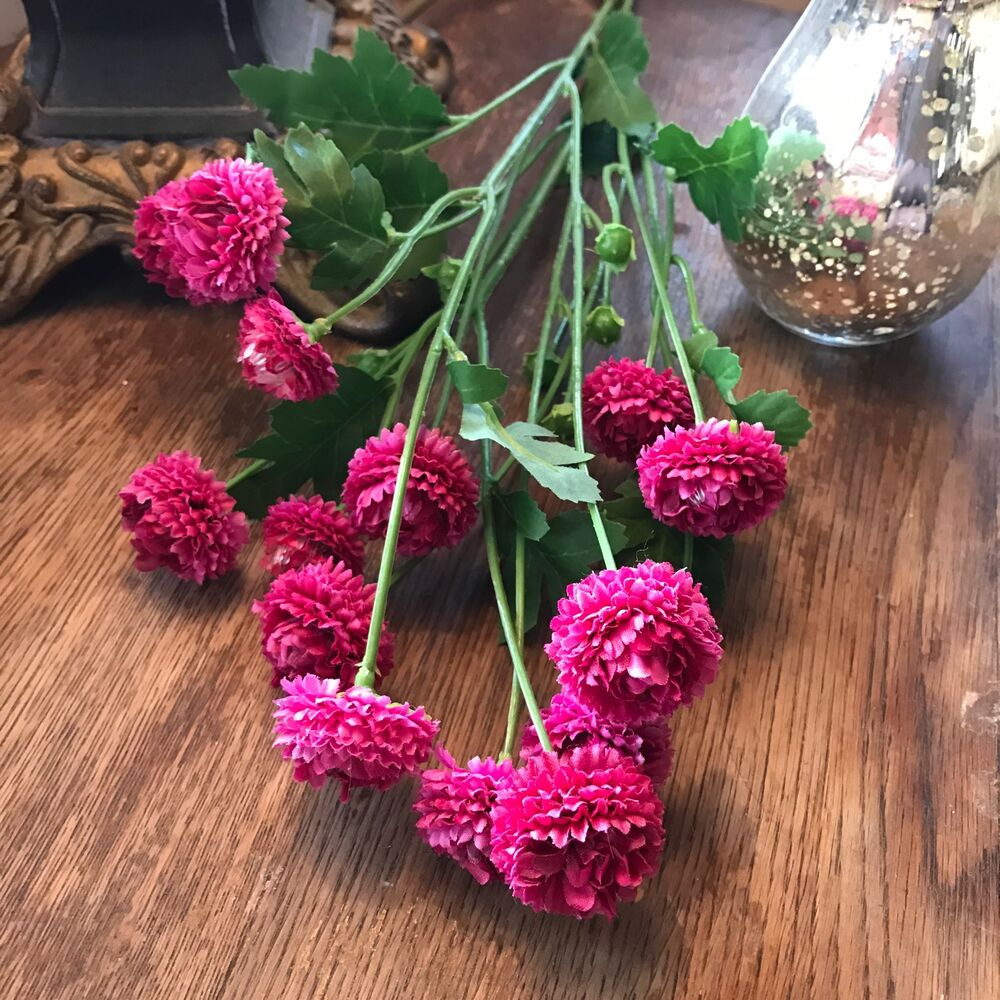 Bunch Of Pink Artificial Aster Realistic Faux Silk Wild Pom Pom