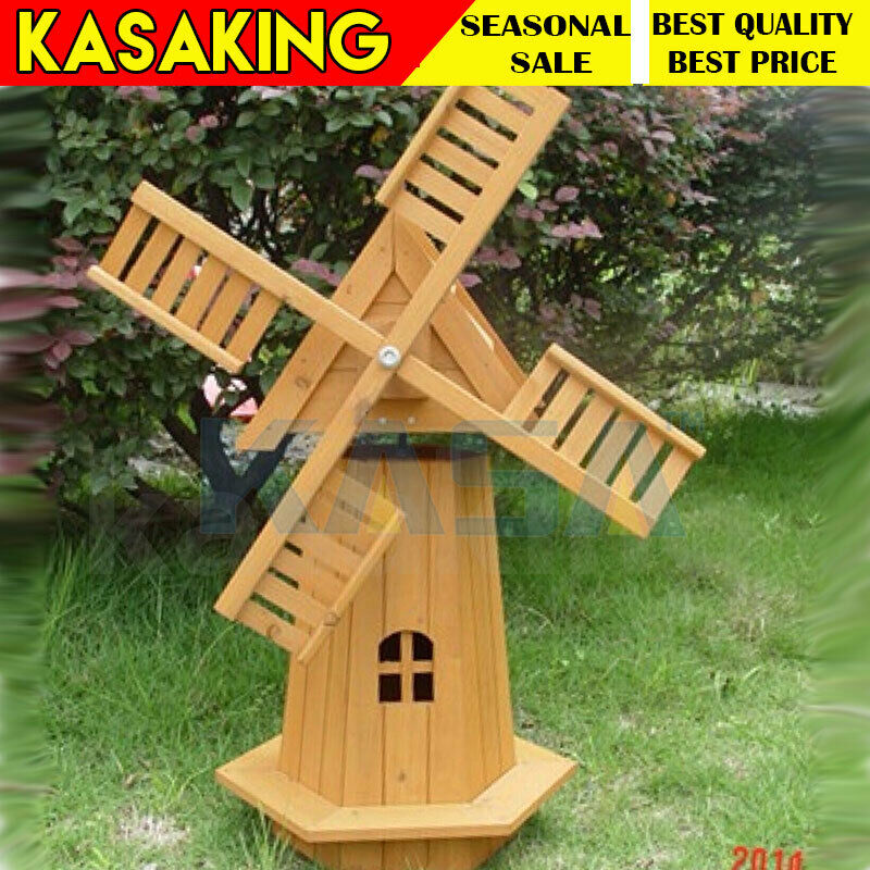 Outdoor garden windmill wooden decor lawn ornament moving for Wooden garden ornaments and accessories