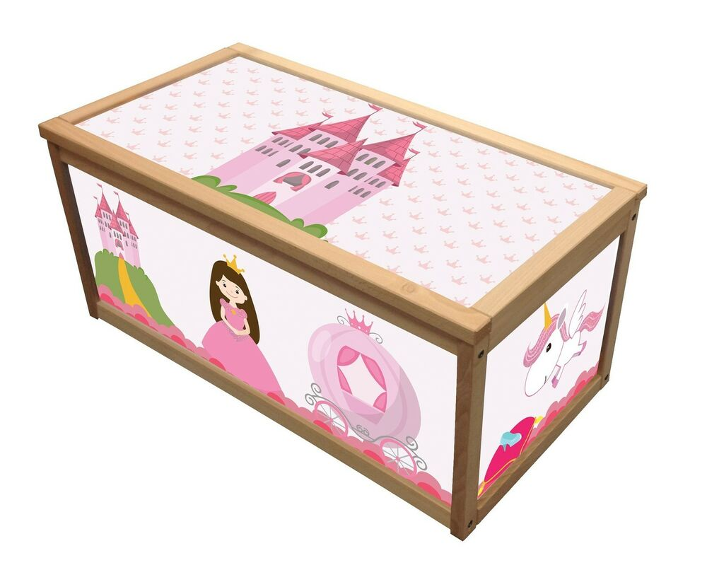 Childrens Jumbo Bedroom Room Tidy Toy Storage Chest Box Trunk: PRINCESS WOODEN TOY BOX / STORAGE UNIT FOR GIRLS CHILDREN